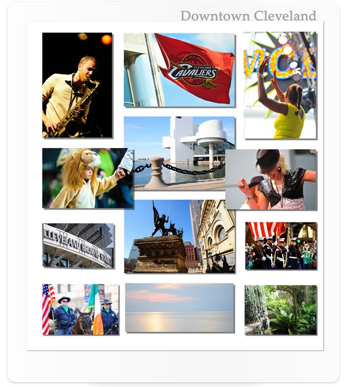 Collage of images of Downtown Cleveland